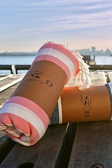 Lady Moda Peştemal Pink Striped 100x180 cm Yüzde Yüz Pamuklu Renkli